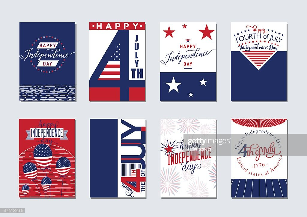 Vector illustration of happy USA Independence day felicitation background set