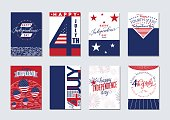 Vector illustration of happy USA Independence day felicitation background set