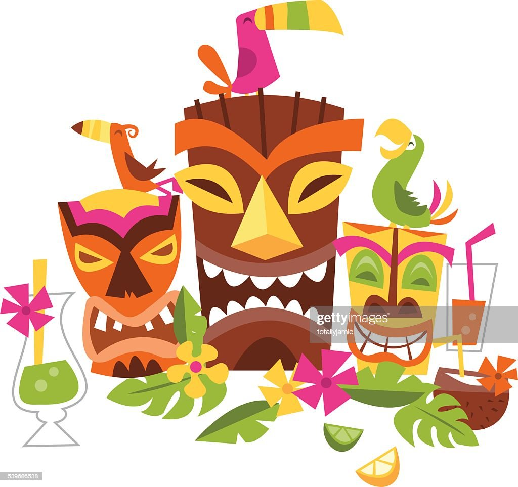 Vector illustration of Hawaiian luau party