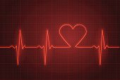 Vector illustration of heart pulse in red.