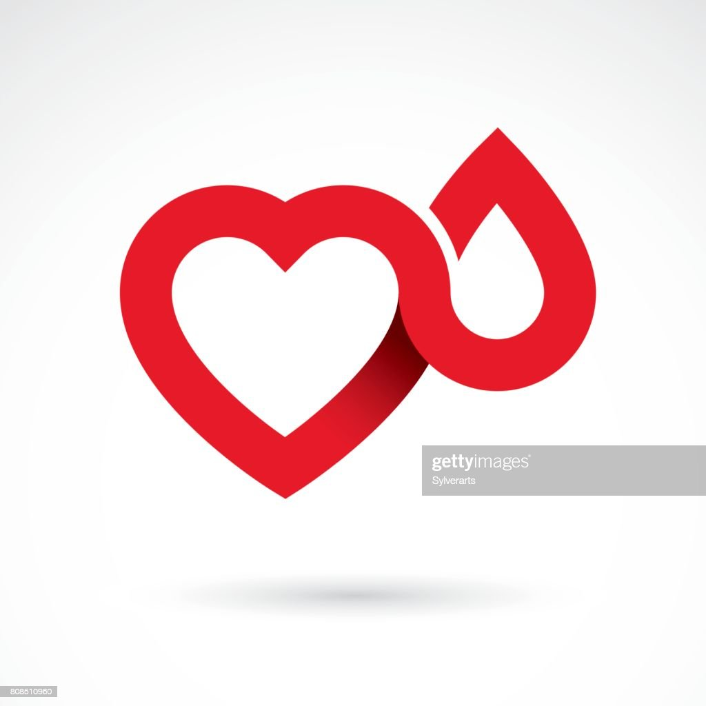 Vector illustration of heart shape isolated on white. Hematology theme, medical treatment design for use in pharmacy business.