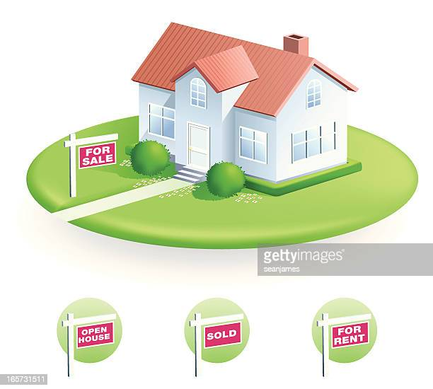 Vector illustration of house with For Sale sign