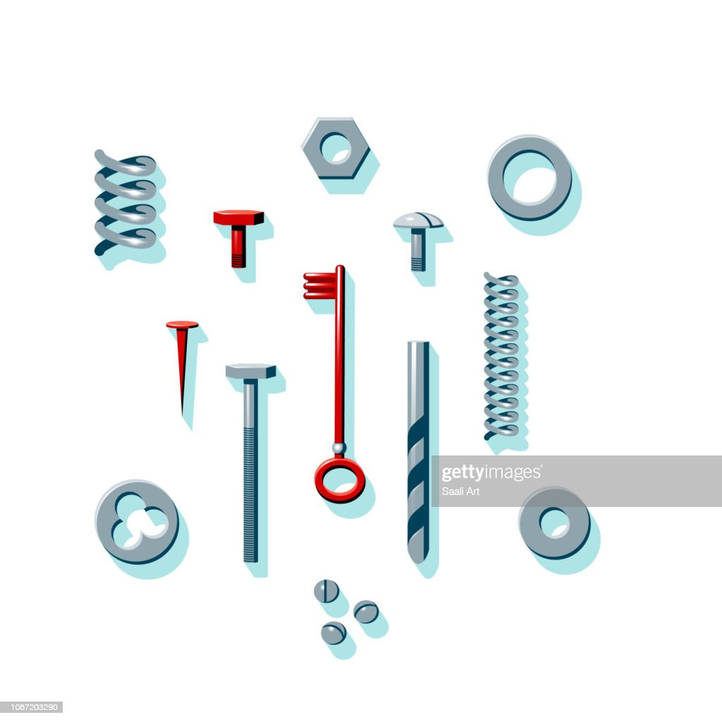 Vector illustration of household tools and consumable parts in red, gray and dark green colors. Set of cons of tools with minty green shadows. Spring, bolt, nut, washer, key, nail, drill.