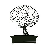 Vector Illustration of human brain and bonsai tree.