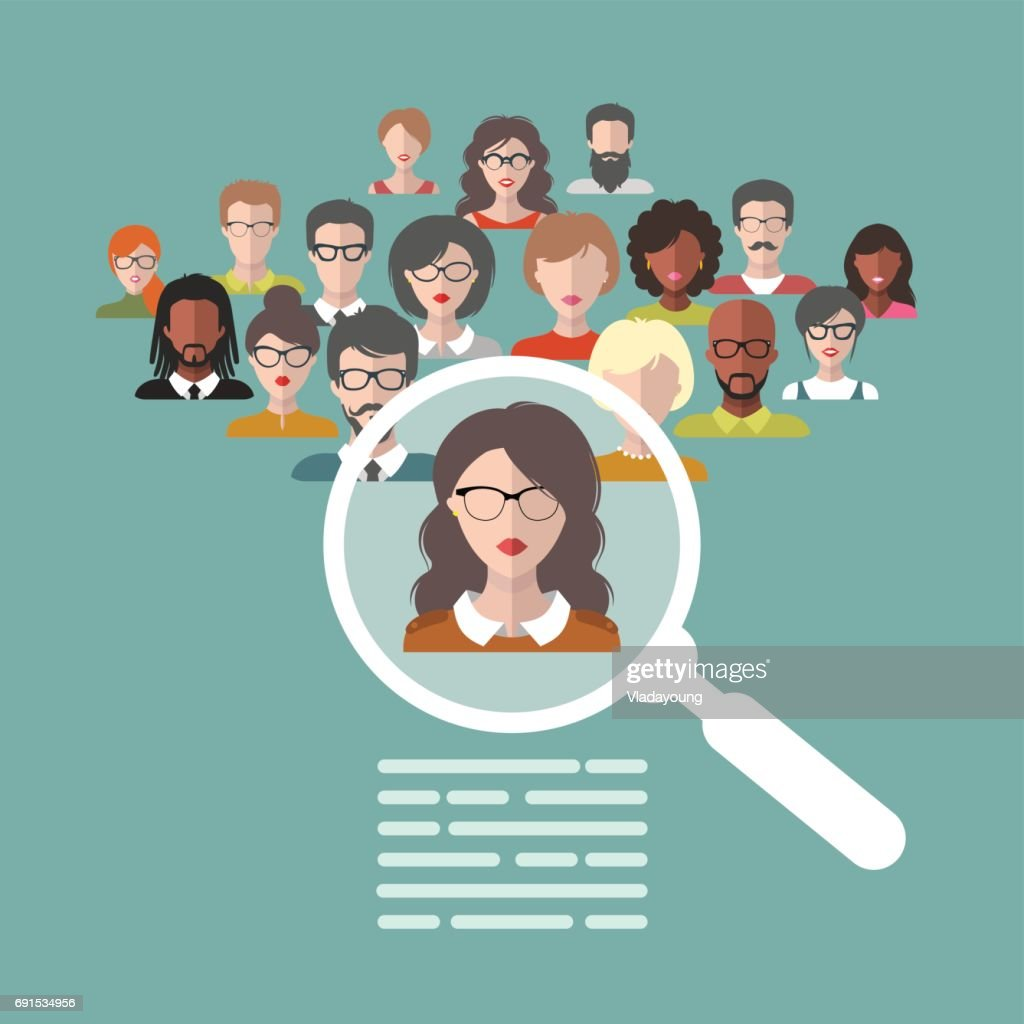 Vector illustration of human resources management, staff research, head hunter job with magnifying glass in flat style.