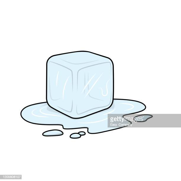 vector illustration of ice cube isolated on white background for kids coloring activity worksheet/workbook. - ice cube stock illustrations