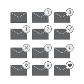 vector illustration of icons set for messages with different condition