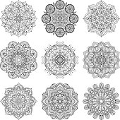 Vector illustration of indian mandalas. Old asian and arabic round texture isolate on white background