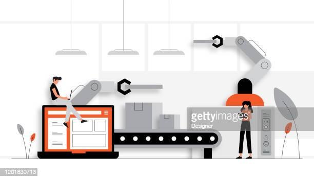 illustrazioni stock, clip art, cartoni animati e icone di tendenza di illustrazione vettoriale del concetto di industria 4.0. design moderno piatto per pagina web, banner, presentazione ecc. - automatizzato