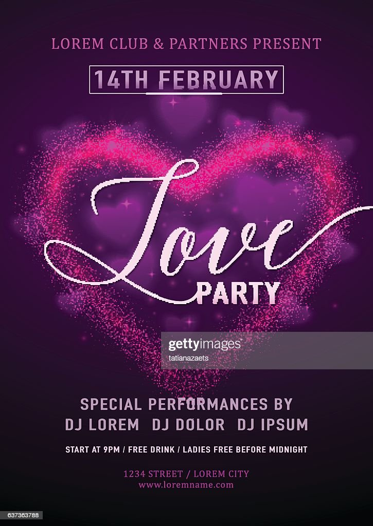 Vector illustration of invitation valentines day party poster template