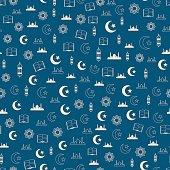 Vector illustration of islamic holy Ramadan seamless pattern with mosque, moon, lantern, koran