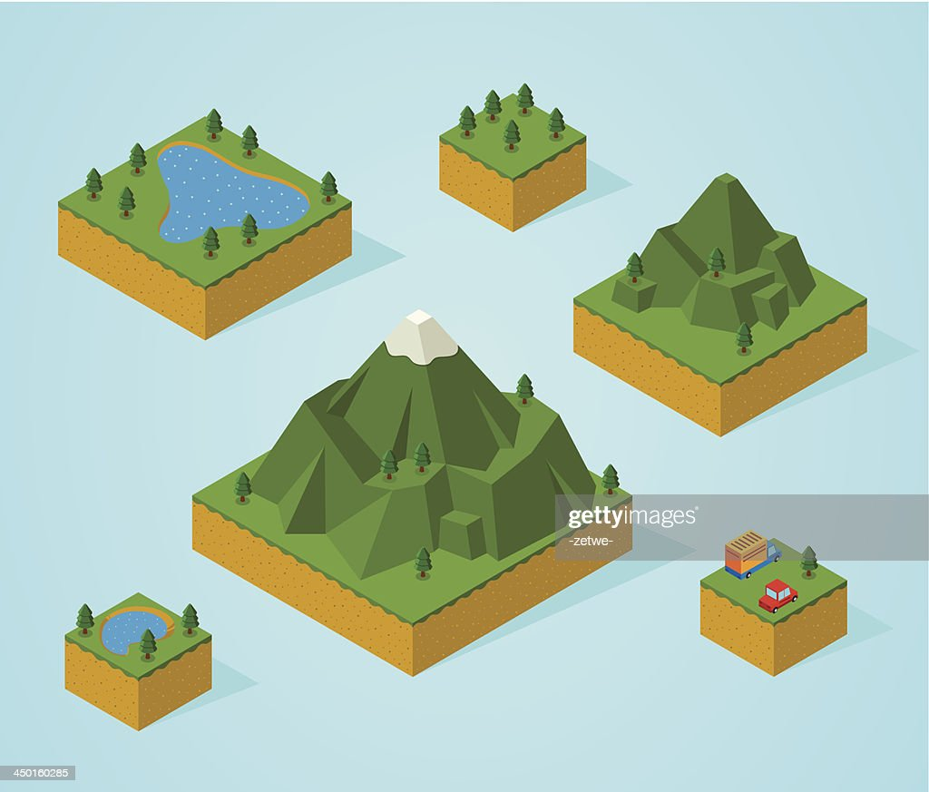 Vector illustration of isometric map pieces