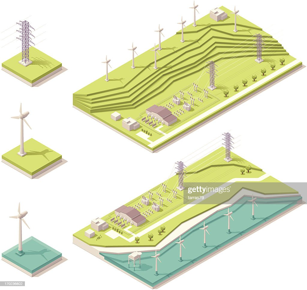 Vector illustration of isometric wind farm
