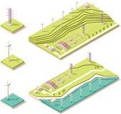 Vector illustration of isometric wind farm