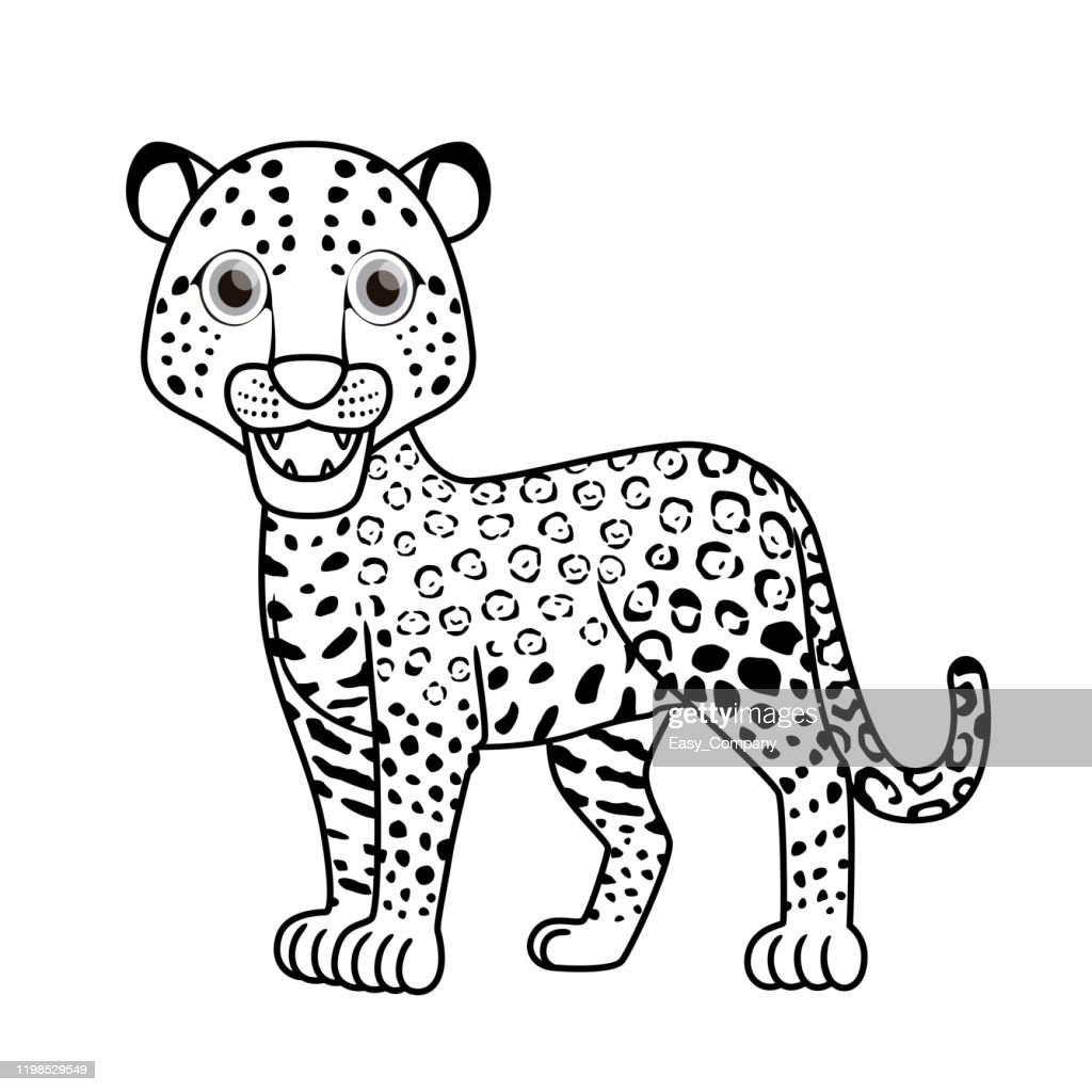 Vector Illustration Of Jaguar Isolated On White Background For Kids Coloring Book High Res Vector Graphic Getty Images