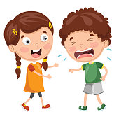 Vector Illustration Of Kid Crying