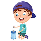 Vector Illustration Of Kid Saving Money