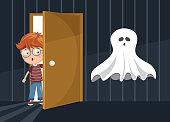 Vector Illustration Of Kid Scaring