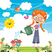 Vector Illustration Of Kid Watering Flowers