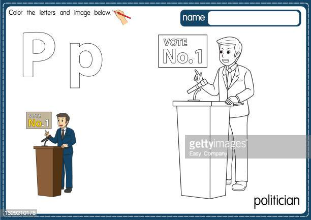 vector illustration of kids alphabet coloring book page with outlined clip art to color. letter p for  politician. - microphone stand stock illustrations