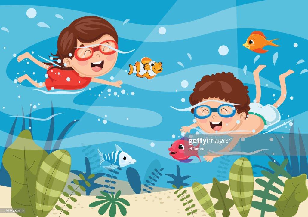 Vector Illustration Of Kids Diving