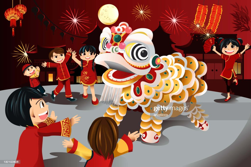 Vector illustration of kids on Chinese New Year