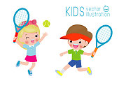 Vector Illustration Of Kids Playing Tennis