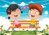 Vector Illustration Of Kids Sitting On Park Bench