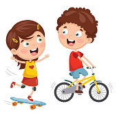 Vector Illustration Of Kids Skateboarding And Cycling