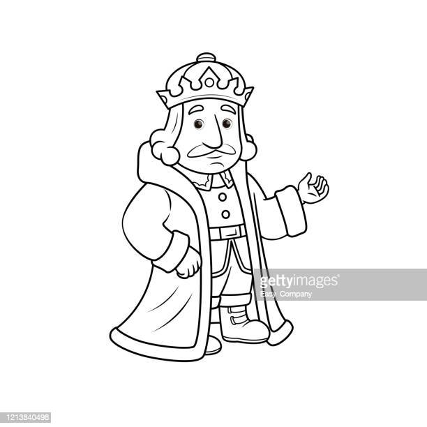 vector illustration of king isolated on white background for kids coloring book. - king royal person stock illustrations