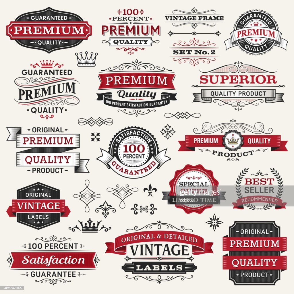 Vector illustration of labels, frames and banners