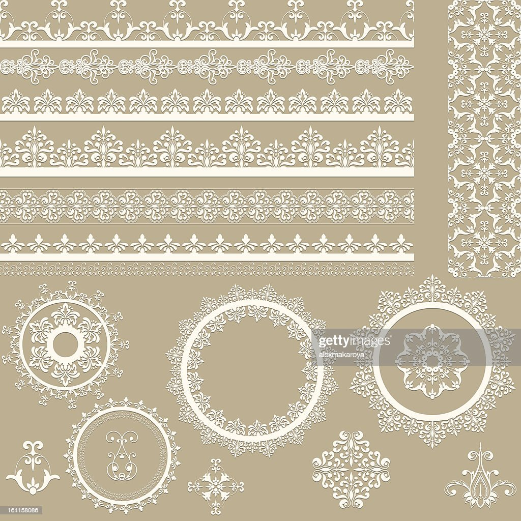 Vector illustration of lacy vintage ribbons
