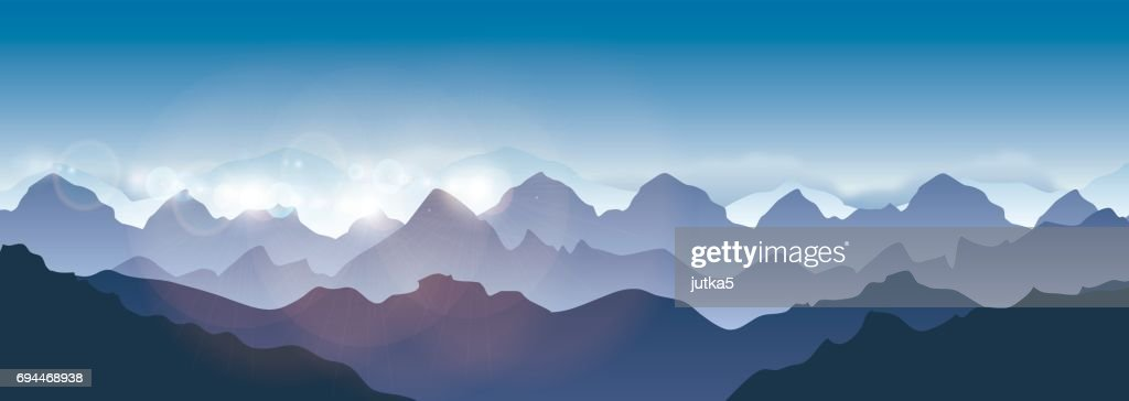 Vector illustration of landscape Himalaya mountains