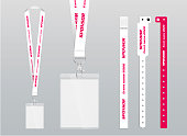 Vector illustration of lanyard and bracelets for identification and access to events. Security and control elements.