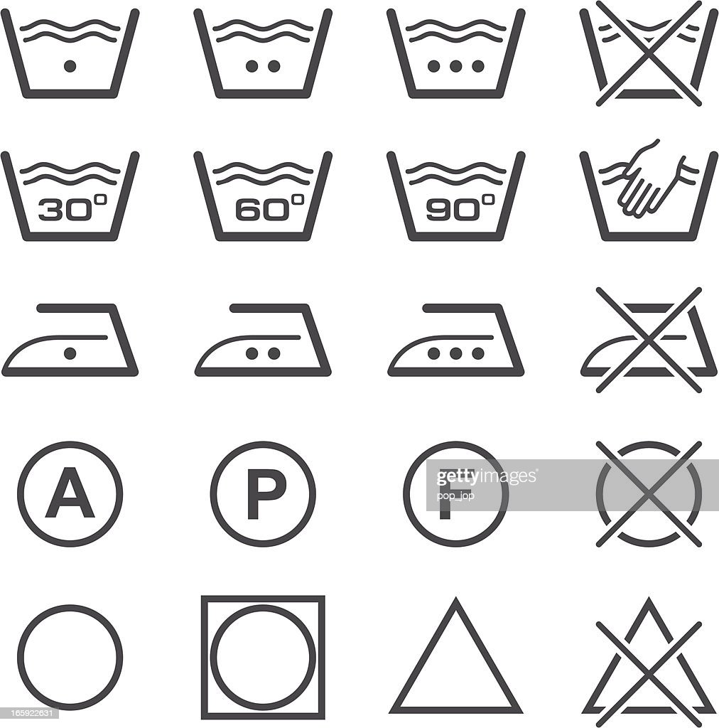 Vector illustration of laundry icons in black