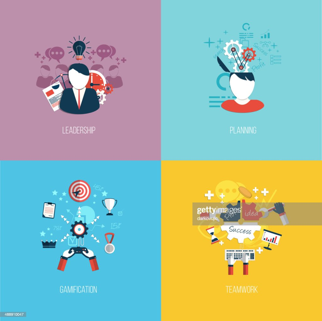 Vector illustration of leadership and planning