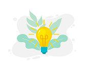 Vector illustration of light bulb and idea concept symbol.