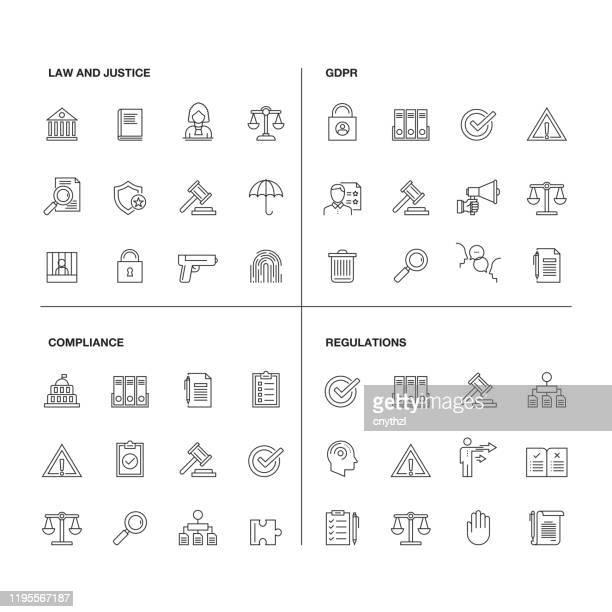 ilustrações de stock, clip art, desenhos animados e ícones de vector illustration of line icons for gdpr, compliance, regulations, law and justice. outline symbol collection - independência