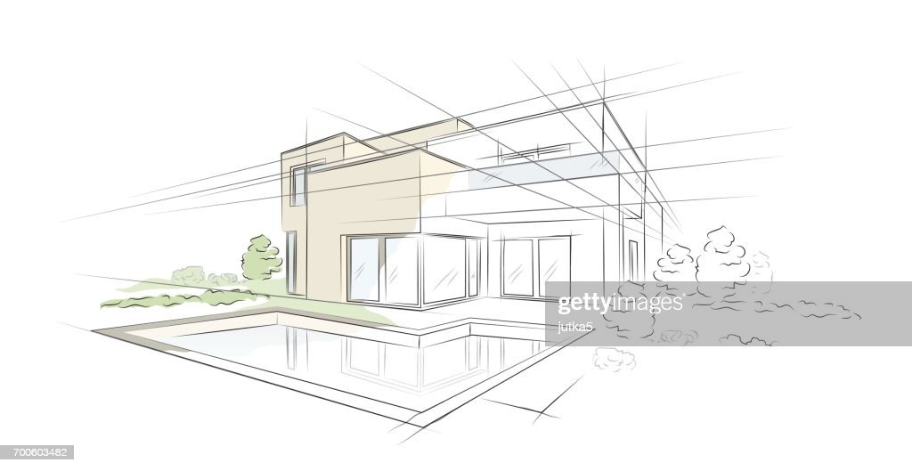 Vector illustration of linear project architectural sketch detached house