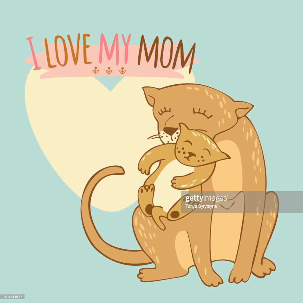 Vector illustration of lioness with lion cub
