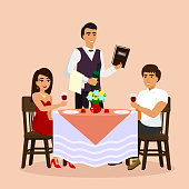 Vector illustration of loving couple in restaurant with waiter, drinking wine in a cafe. Man and woman have a date, flat cartoon style.