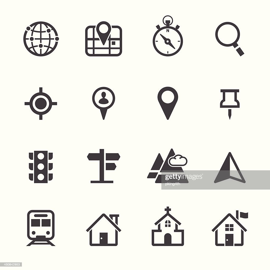 Vector illustration of map and location icons