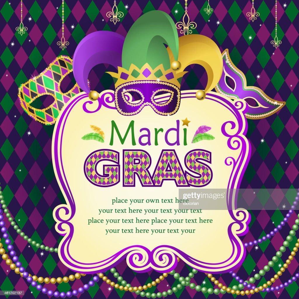 Vector illustration of Mardi Gras masks frame