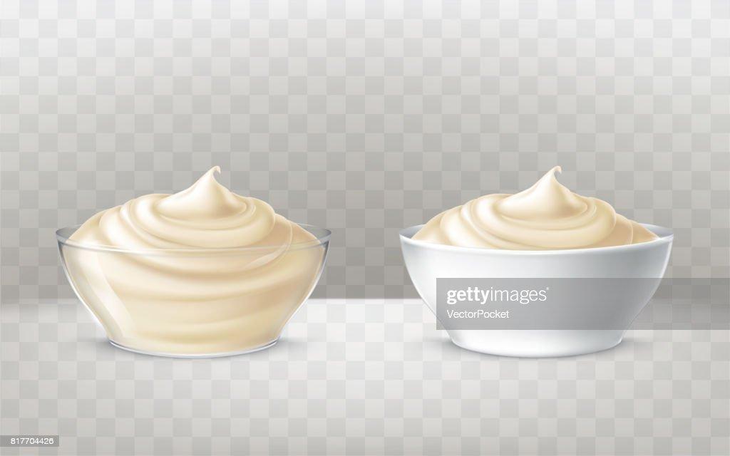 Vector illustration of mayonnaise, sour cream, sauce, sweet cream, yogurt, cosmetic cream