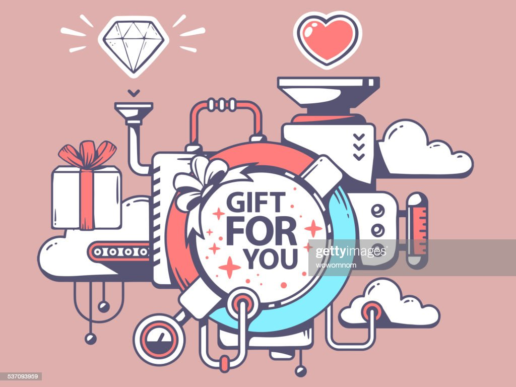 Vector illustration of mechanism to make gift and relevant icons