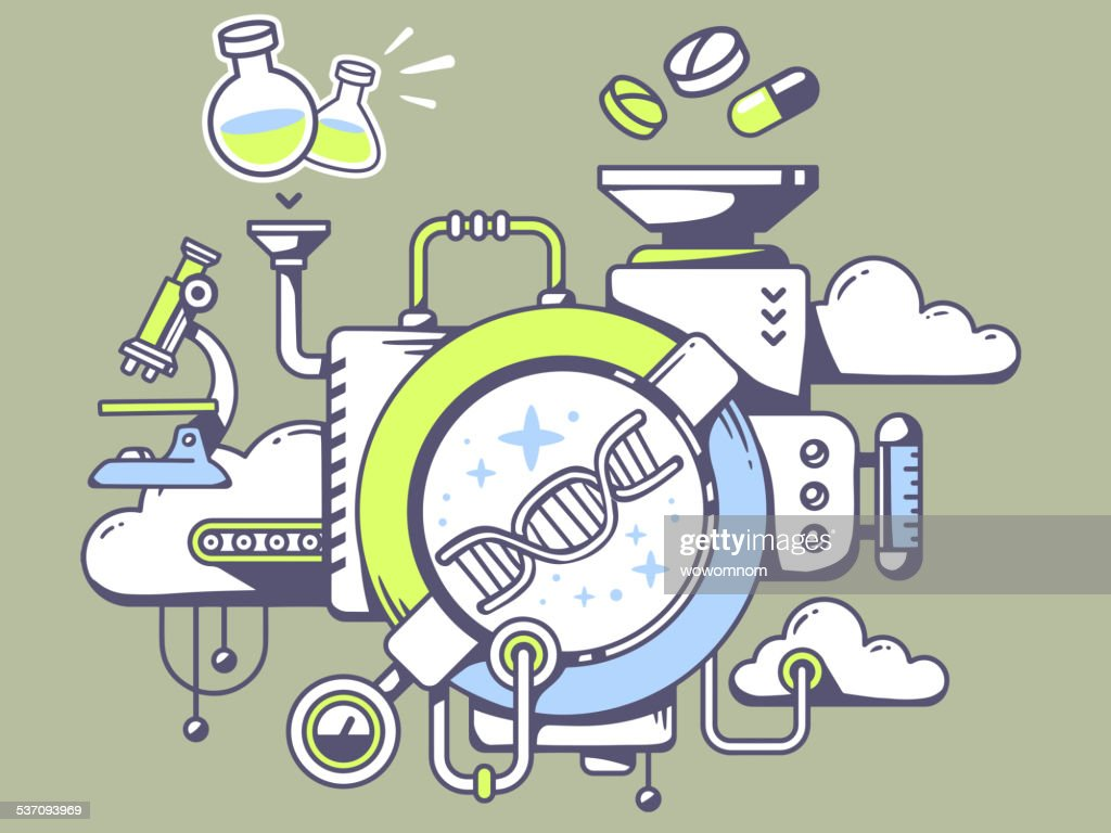 Vector illustration of mechanism to study  dna molecule chain
