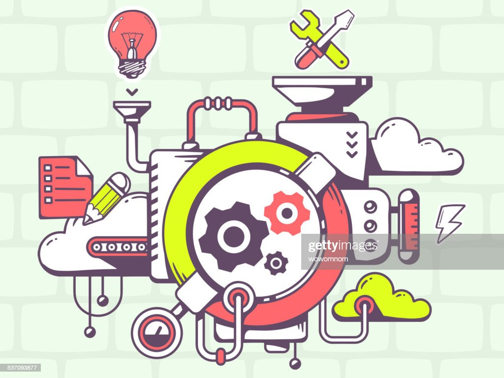 Vector illustration of mechanism to work gears and relevant icon