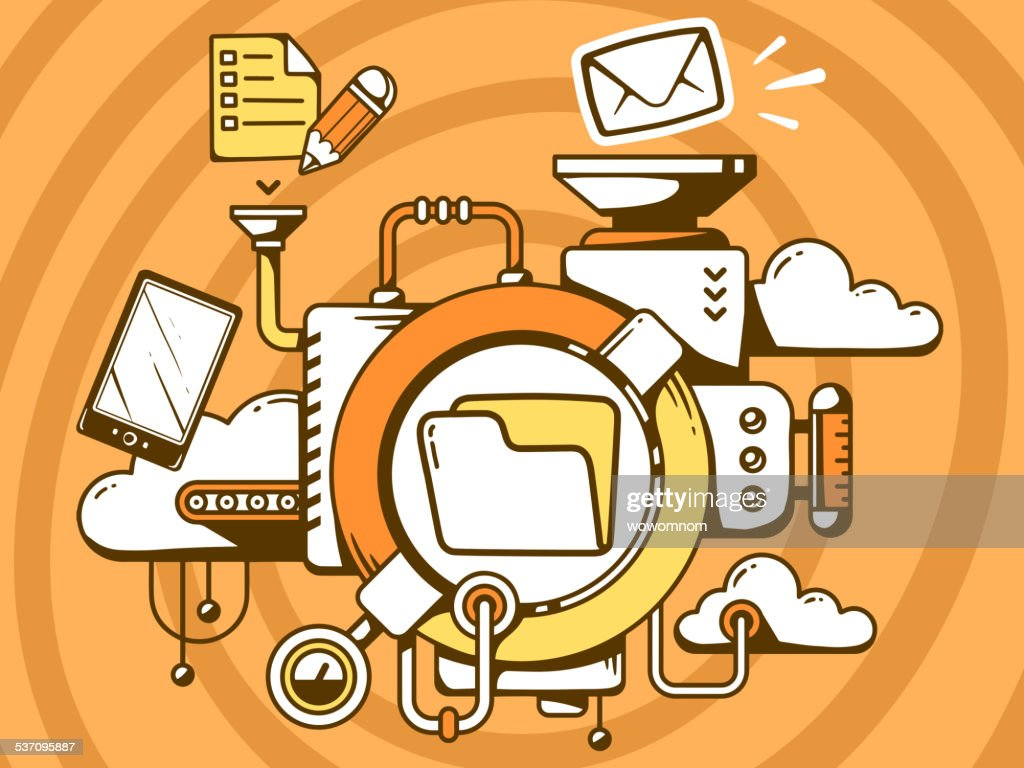 Vector illustration of mechanism with folder and office icons