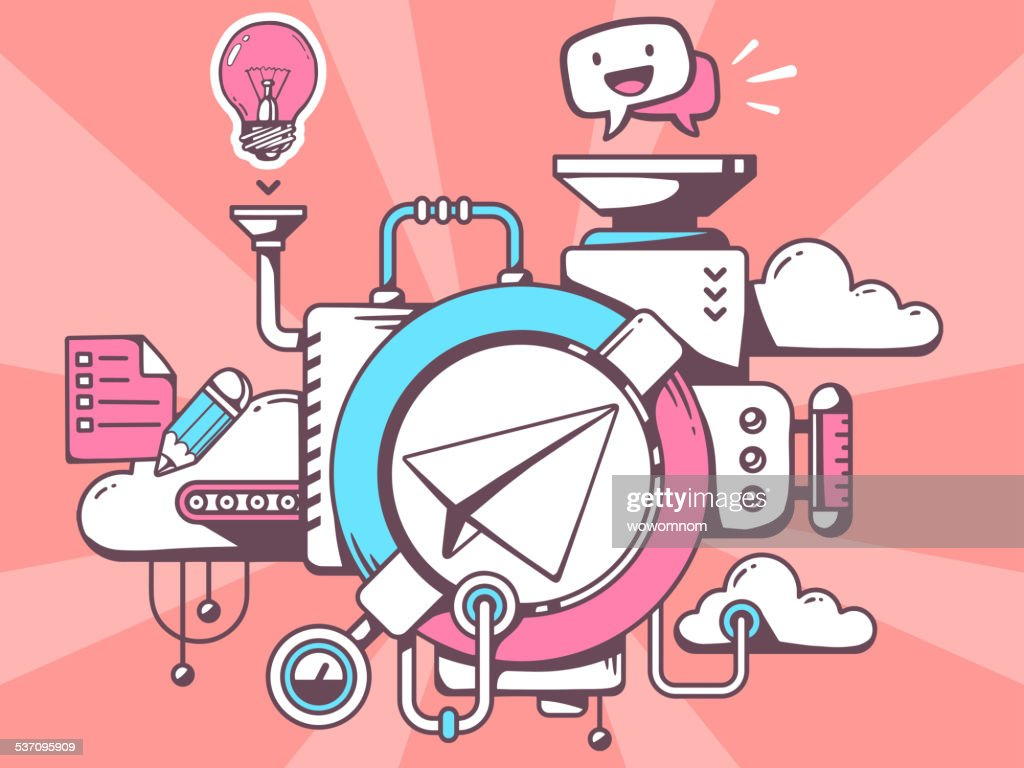Vector illustration of mechanism with paper air plane and office
