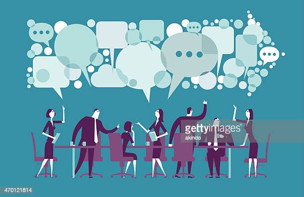 vector illustration of meeting - teamwork stock illustrations